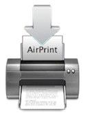 Druckericon mit Pfeil von oben und Text AirPrint