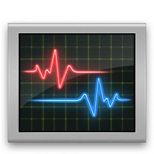 Programmicon: Monitor mit roter und blauer Verlaufskurve